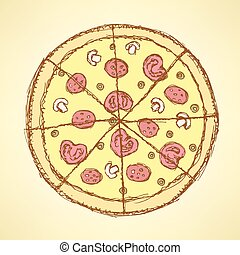 Sketch tasty pizza in vintage style, vector