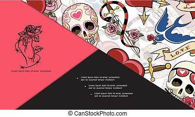 Sketch Tattoo Symbols Composition