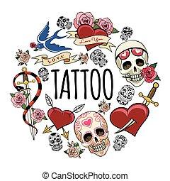 Sketch Tattoo Symbols Round Concept