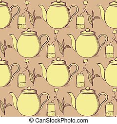 Sketch tea seamless pattern