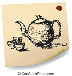 sketch teapot with cup on sticky - sketch drawing of teapot...