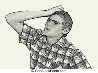 Sketch Teen boy body language -  Thinking