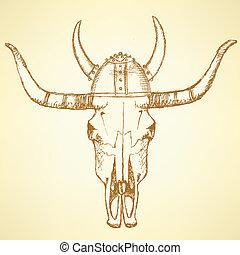 Sketch texas longhorn steer in viking helmet