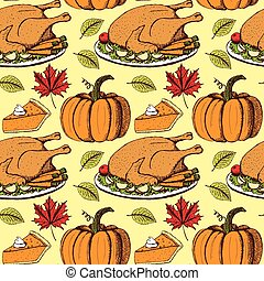 Sketch Thanksgiving seamless pattern