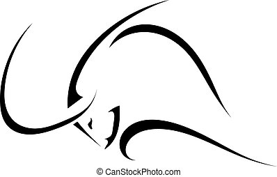 Sketch the profile of a bull isolated on a white background. Tra