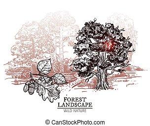 Sketch Tree Landscape Illustration
