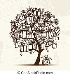 Sketch tree with gift boxes for your design