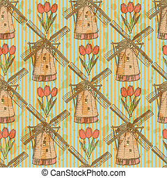 Sketch tulip and windmill, vector seamless pattern - Sketch...