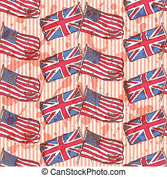 Sketch UK and USA flags, vector  seamless pattern