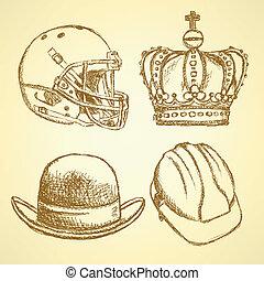 Sketch unusual hat set