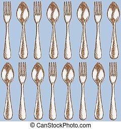Sketch utencil in vintage style, vectorseamless pattern