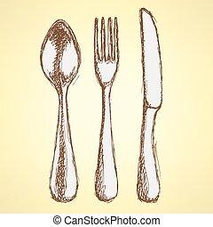 Sketch utencil set in vintage style, vector