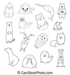 Sketch various northern animals. Large set. Vector illustration
