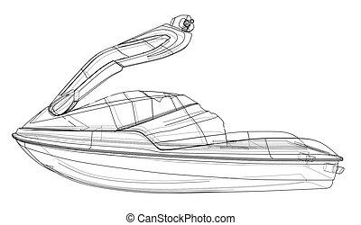sketch., vecteur, jet-ski