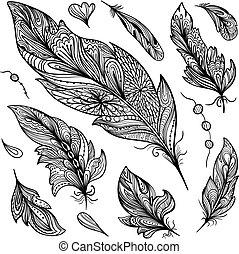 Sketch Vector Feather Set