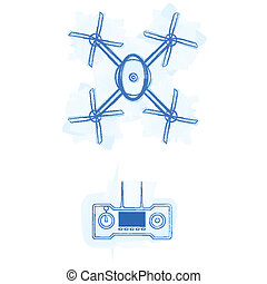 Sketch vector illustration of quadracopter