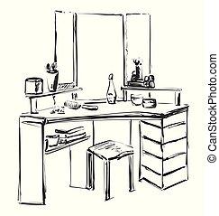 sketch., vektor, toalettbord, spegel., möblemang