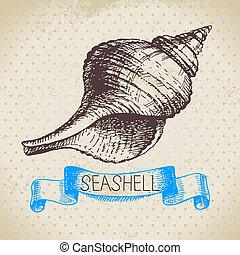 sketch., vendimia, ilustración, mano, dibujado, conchas...