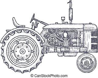 sketch., vendimia, tractor, vector, agrícola, dibujado, mano