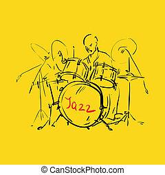 sketch., vetorial, illustration., drummer.