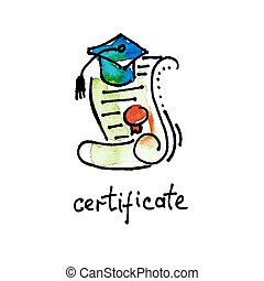 sketch watercolor icon of certificate diploma, distance...