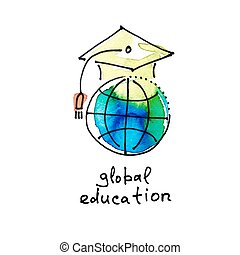sketch watercolor icon of global education, distance online learn