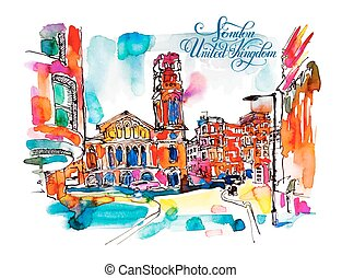 sketch watercolor painting of London street with church and hand