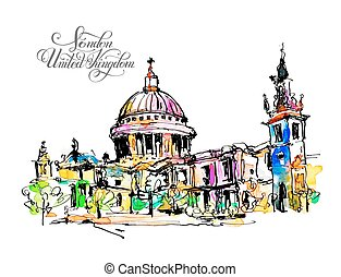sketch watercolor painting of London top view - St. Paul...