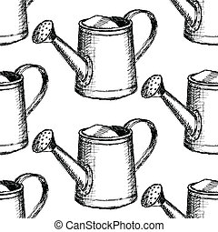 Sketch watering can, vector seamless pattern - Sketch...