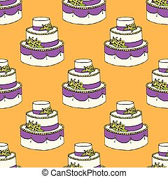 Sketch wedding cake in vintage style, seamless pattern