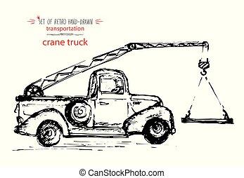 sketch., weinlese, abbildung, hand-drawn, vektor, schwarze tinte, schnell, kranservice, truck., transport