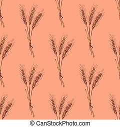 Sketch wheat bran in vintage style, vector seamless pattern