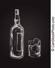 Whiskey Bottle and Glass. Hand Drawn Drink Vector Illustration