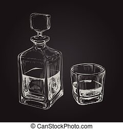 Whiskey Bottle and Glass. Hand Drawn Drink Vector...