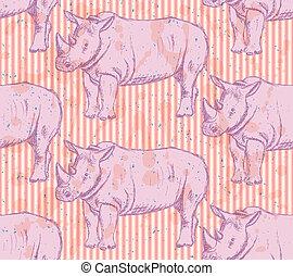 Sketch wild rhino, vector seamless pattern - Sketch wild...