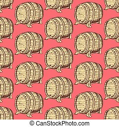 Sketch wine barrel in vintage style, vector seamless pattern