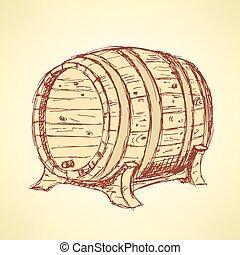 Sketch wine barrel in vintage style, vector