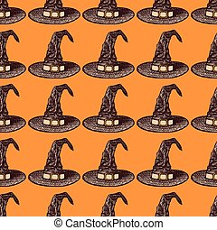 Sketch witch hat in vintage style, vector seamless pattern