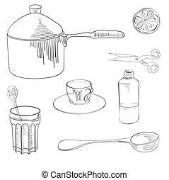 Sketch with kitchen equipment