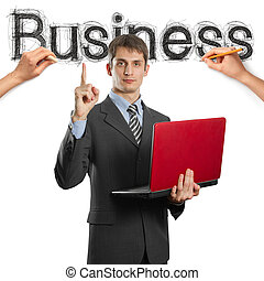 sketch word business with businessman and pensil