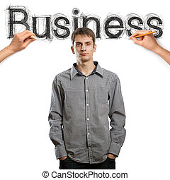 sketch word business with businessman