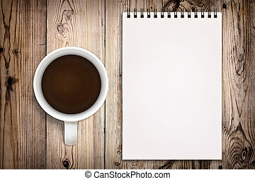 sketchbook, com, xícara café, ligado, madeira, fundo