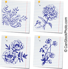 sketchbook, hand-drawn, bloem, set, doodle