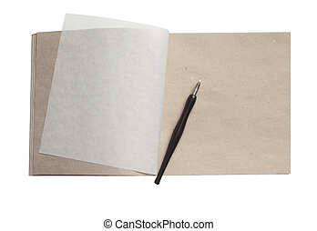 Open sketchbook with blank page and old fountain pen isolated on white with clipping path