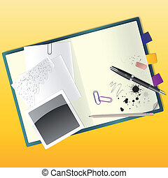 Vector illustration of a sketchbook with a pen and a pencil.