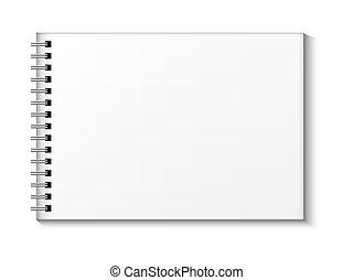Sketchbook vector mock up. Blank sketchbook with blank place...
