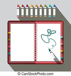 Sketchbook with Colorful Crayons - Vector