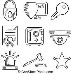 sketched, セキュリティー, セット, 安全, アイコン