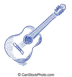 sketch of an acoustic guitar in blue ink