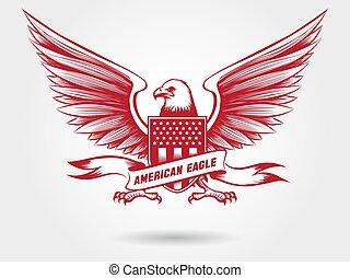 Sketched american eagle emblem design - Sketched american...